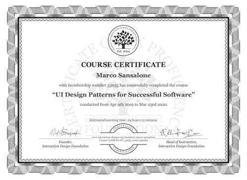 Marco Sansalone's Course Certificate: UI Design Patterns for Successful Software