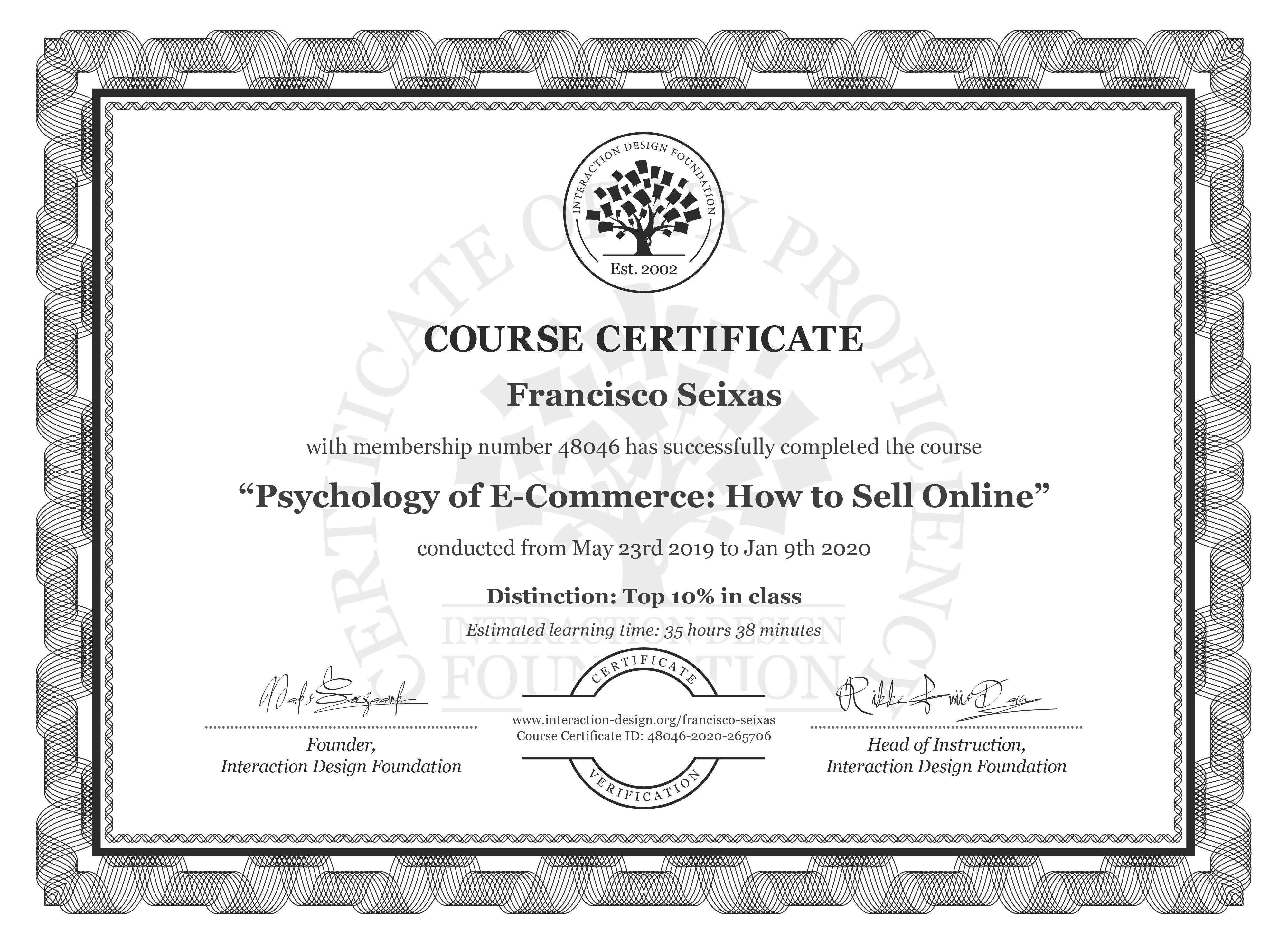 Francisco Seixas: Course Certificate - Psychology of E-Commerce: How to Sell Online