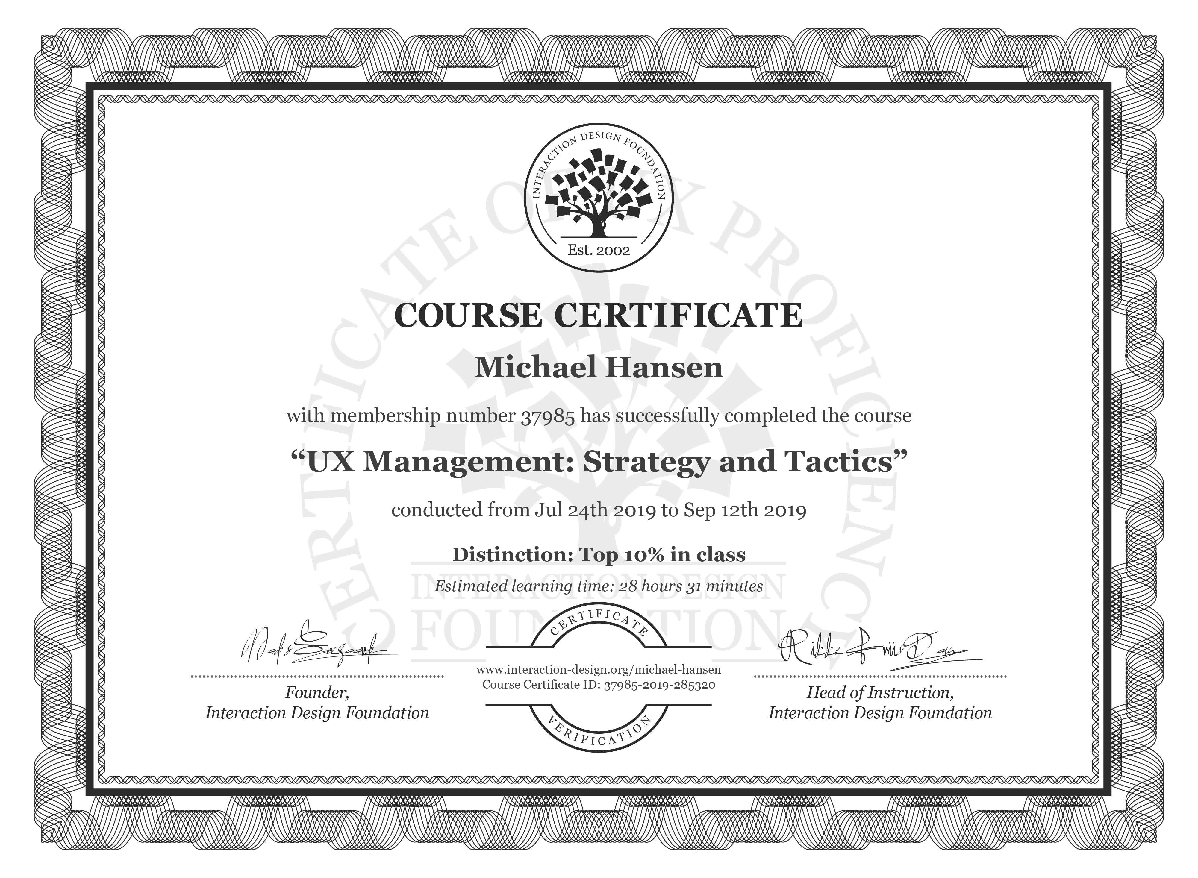 Michael Hansen's Course Certificate: UX Management: Strategy and Tactics
