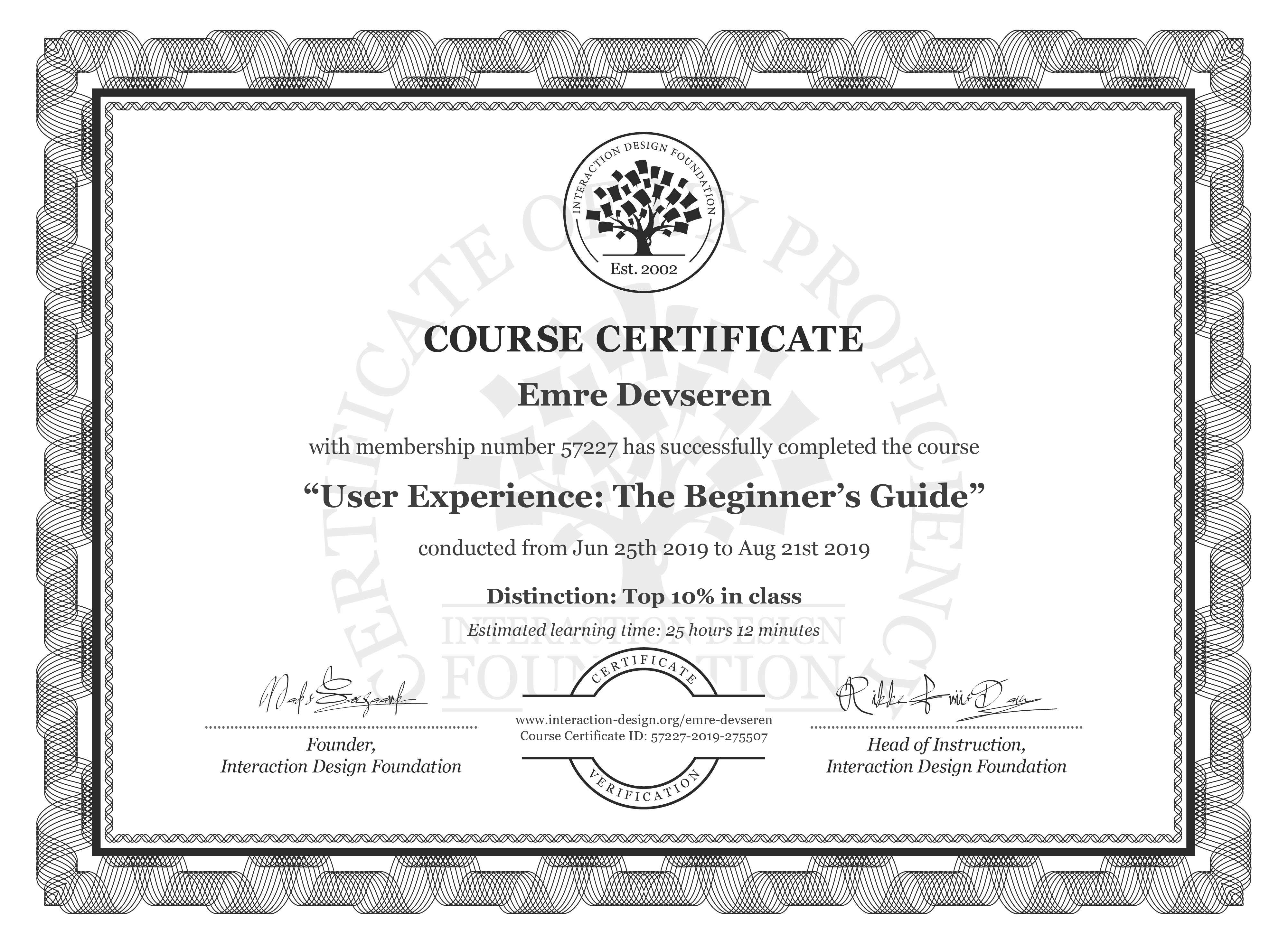 Emre Devseren's Course Certificate: Become a UX Designer from Scratch