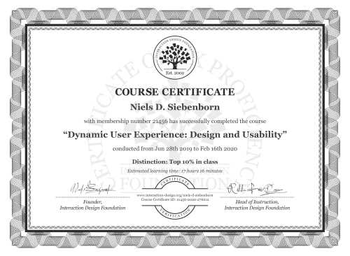 Niels D. Siebenborn's Course Certificate: Dynamic User Experience: Design and Usability