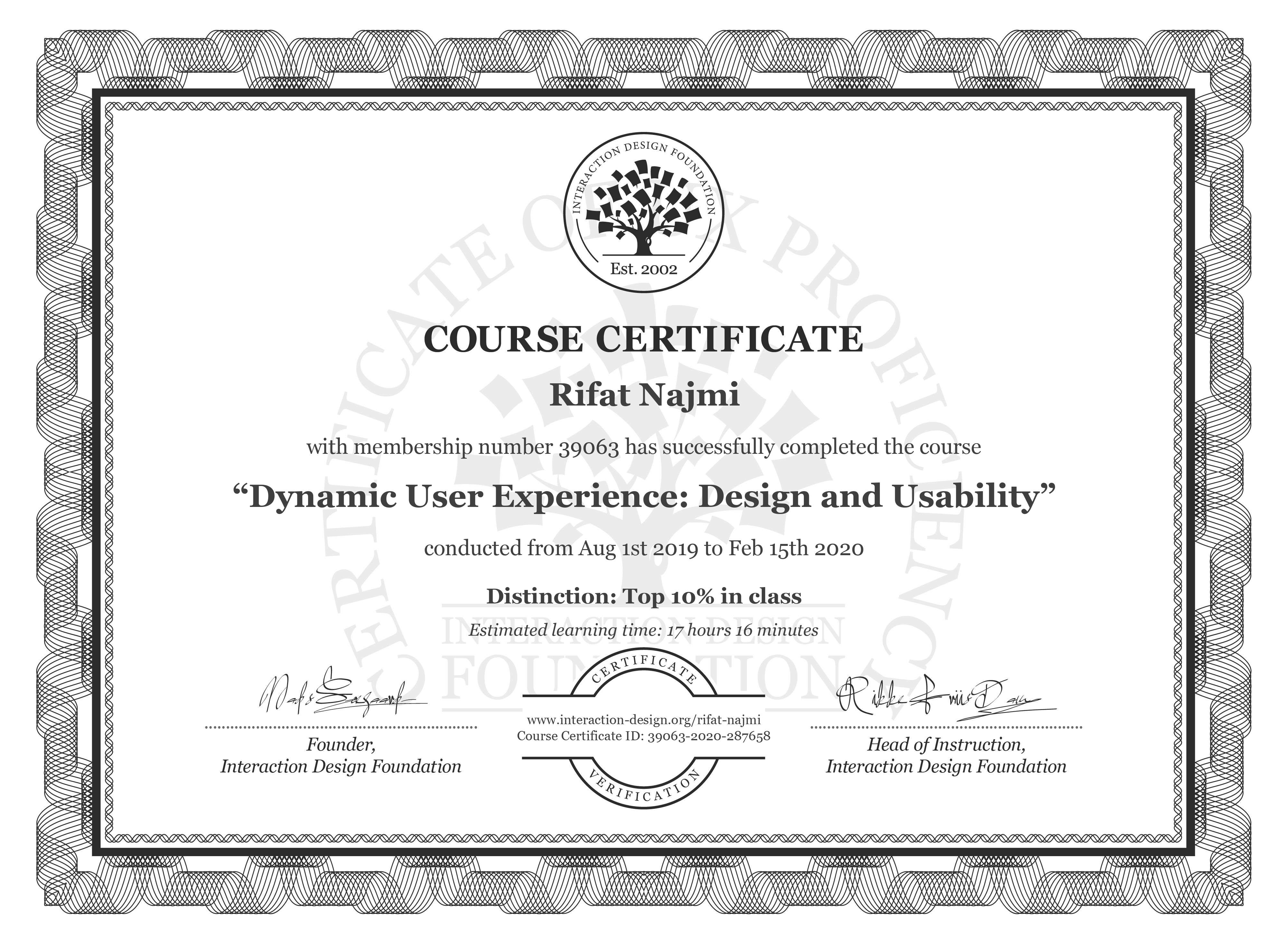 Rifat Najmi's Course Certificate: Dynamic User Experience: Design and Usability