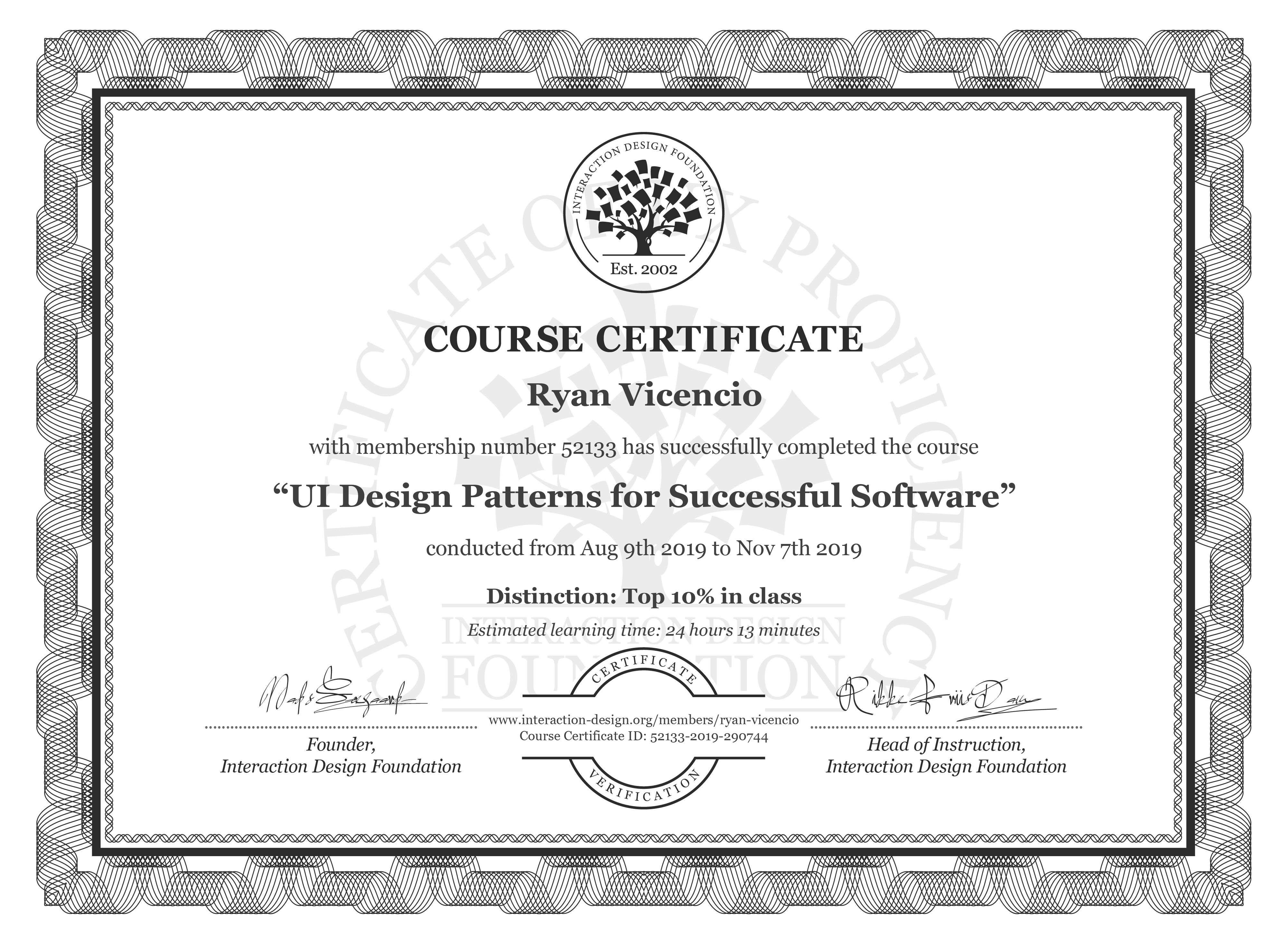 Ryan Vicencio's Course Certificate: UI Design Patterns for Successful Software