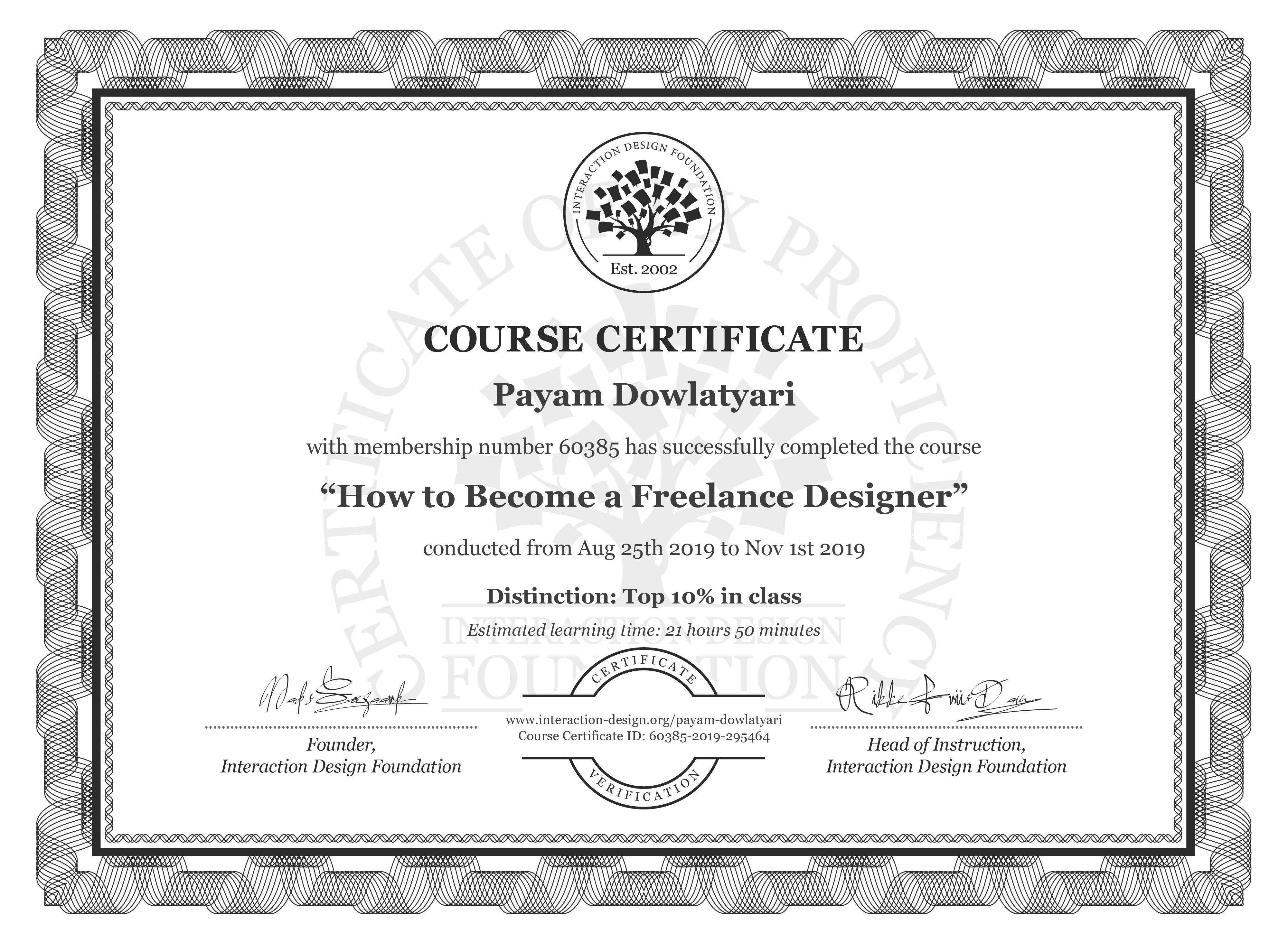 Payam Dowlatyari: Course Certificate - How to Become a Freelance Designer
