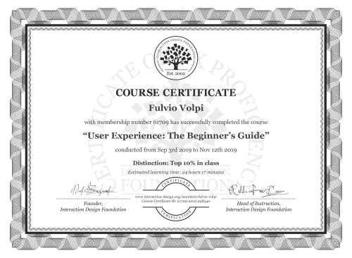 Fulvio Volpi's Course Certificate: Become a UX Designer from Scratch