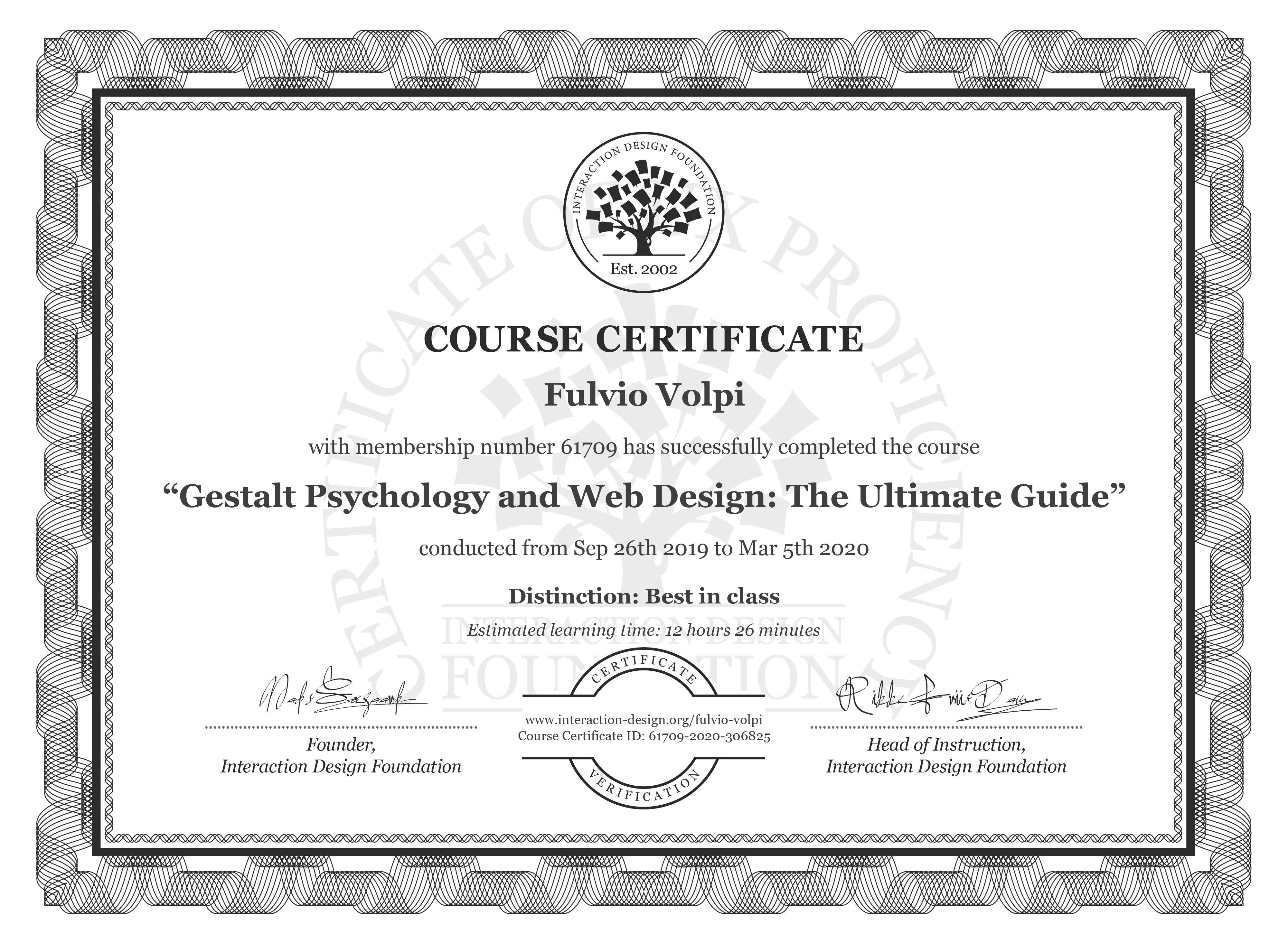 Fulvio Volpi's Course Certificate: Gestalt Psychology and Web Design: The Ultimate Guide