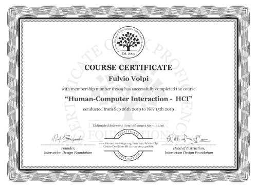 Fulvio Volpi's Course Certificate: Human-Computer Interaction -  HCI