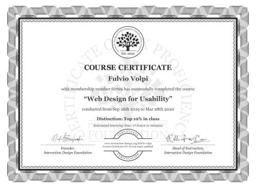 Fulvio Volpi's Course Certificate: Web Design for Usability