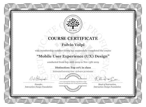 Fulvio Volpi's Course Certificate: Mobile User Experience (UX) Design