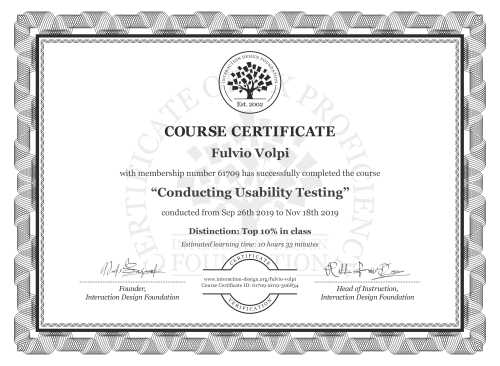 Fulvio Volpi's Course Certificate: Conducting Usability Testing