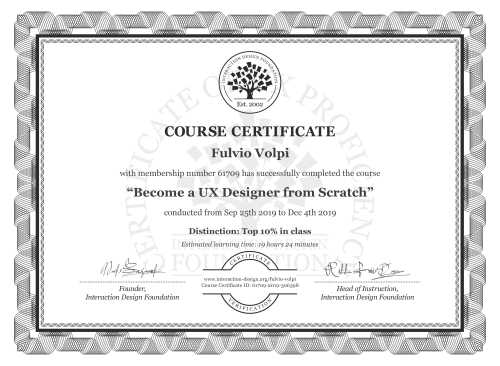 Fulvio Volpi's Course Certificate: User Experience: The Beginner's Guide