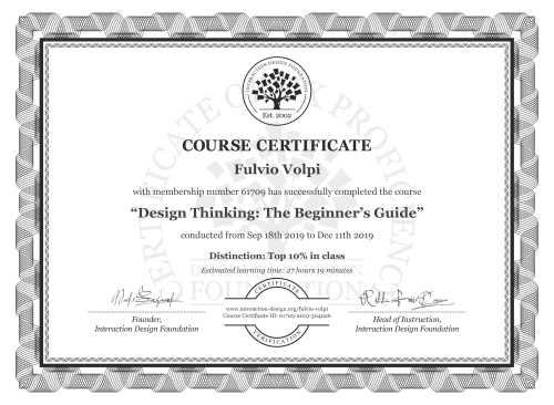 Fulvio Volpi's Course Certificate: Design Thinking: The Beginner's Guide
