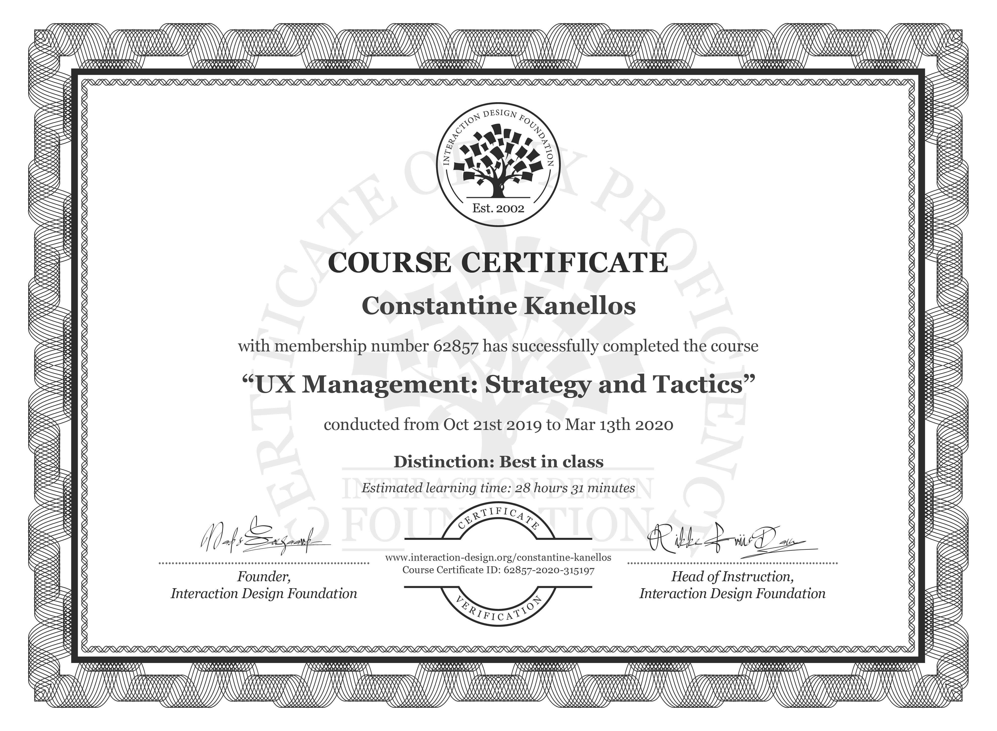Constantine Kanellos's Course Certificate: UX Management: Strategy and Tactics