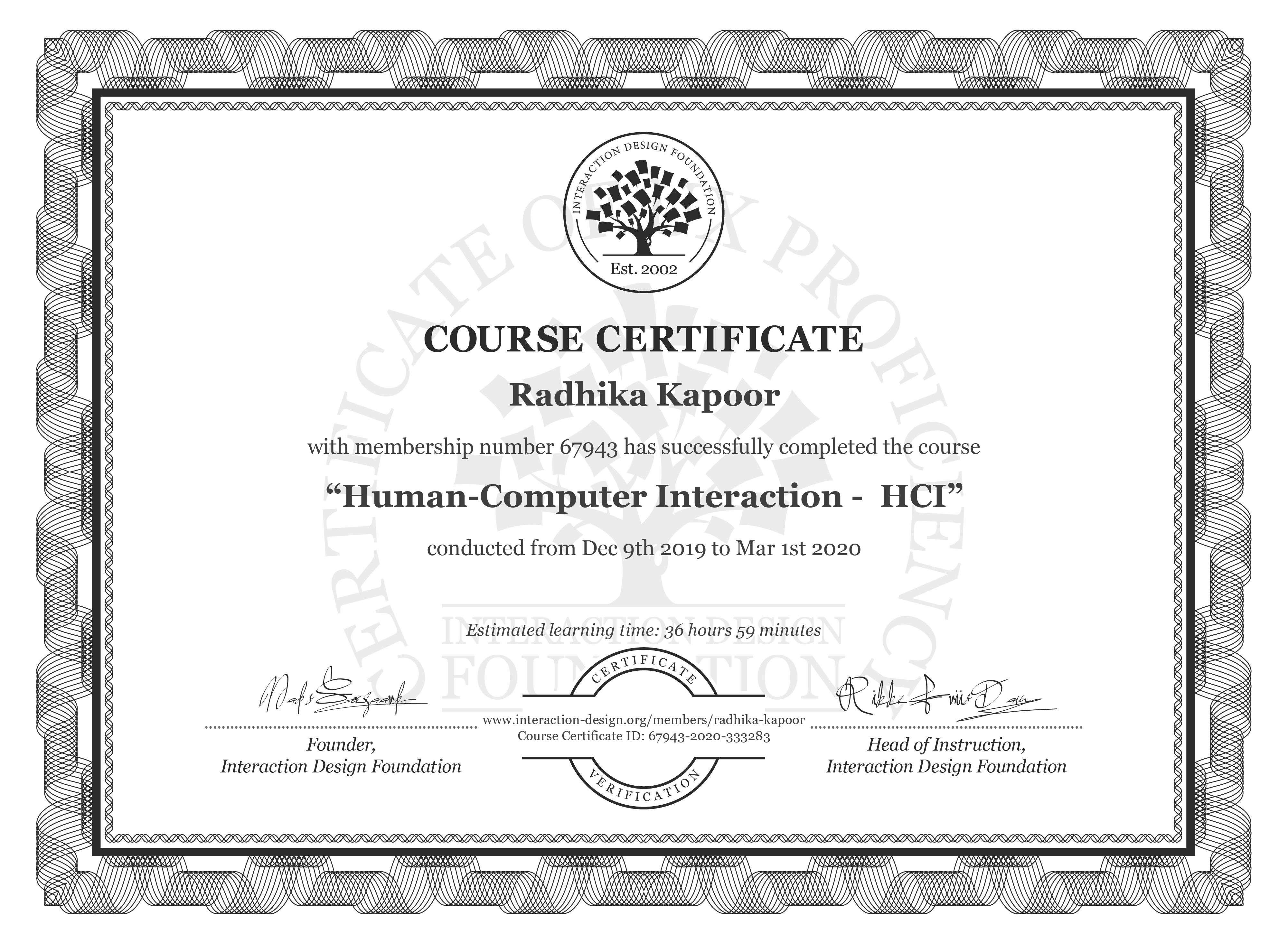 Radhika Kapoor's Course Certificate: Human-Computer Interaction -  HCI