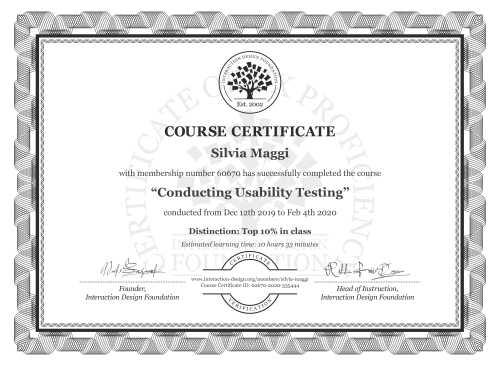 Silvia Maggi's Course Certificate: Conducting Usability Testing