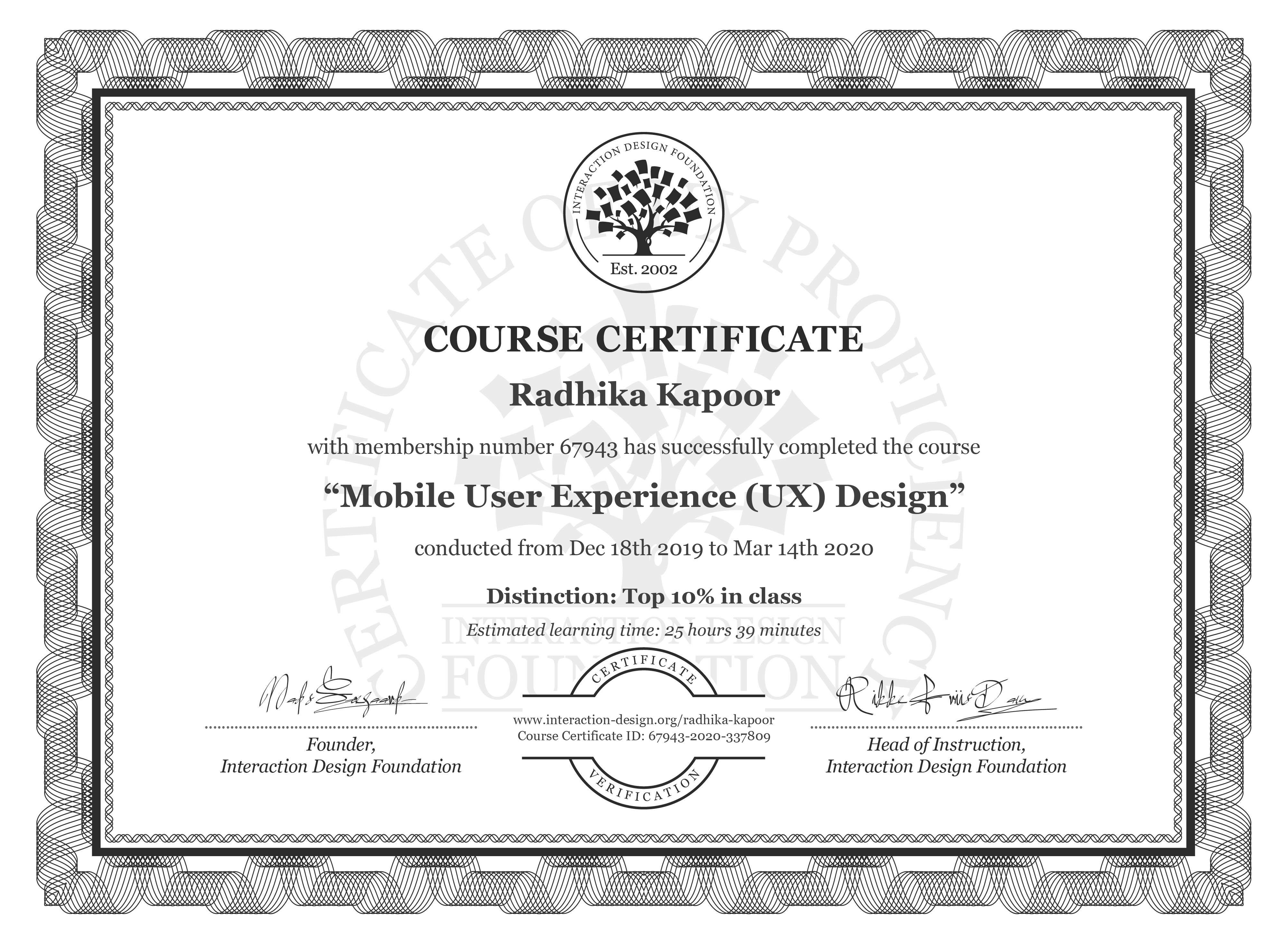 Radhika Kapoor's Course Certificate: Mobile User Experience (UX) Design