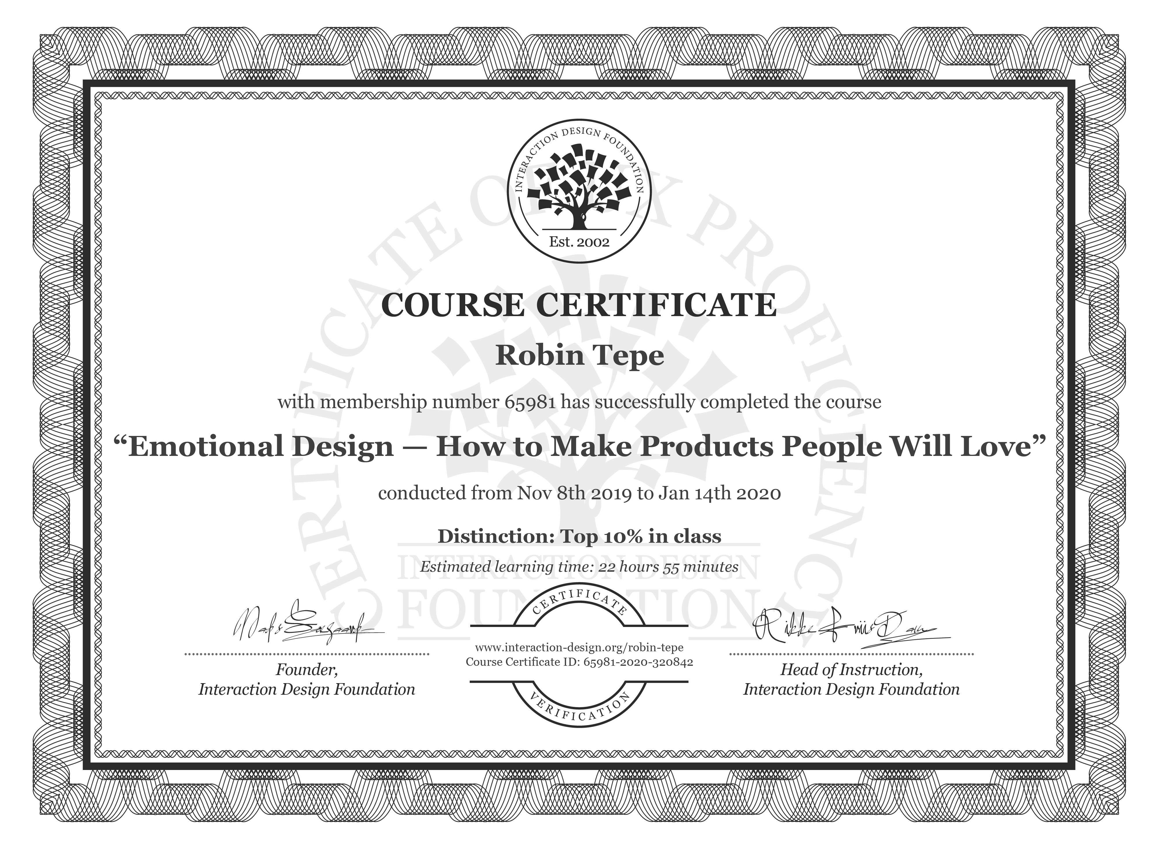 Robin Tepe's Course Certificate: Emotional Design — How to Make Products People Will Love