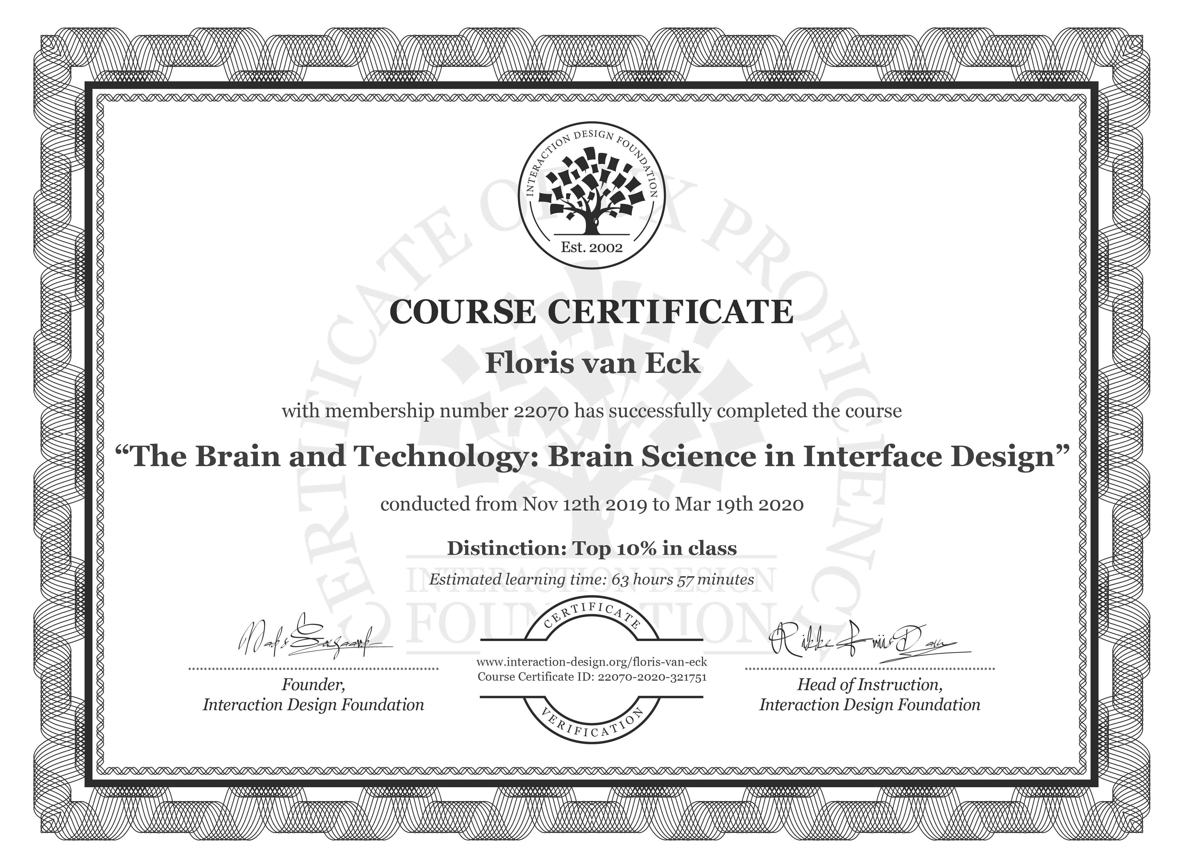 Floris van Eck's Course Certificate: The Brain and Technology: Brain Science in Interface Design