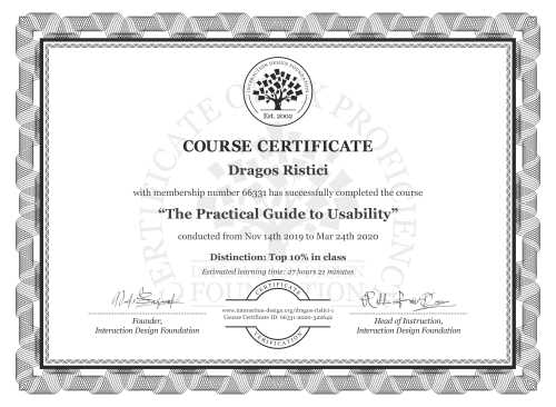 Dragos Ristici's Course Certificate: The Practical Guide to Usability