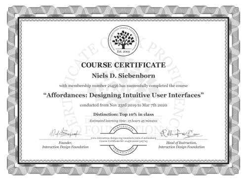 Niels D. Siebenborn's Course Certificate: Affordances: Designing Intuitive User Interfaces