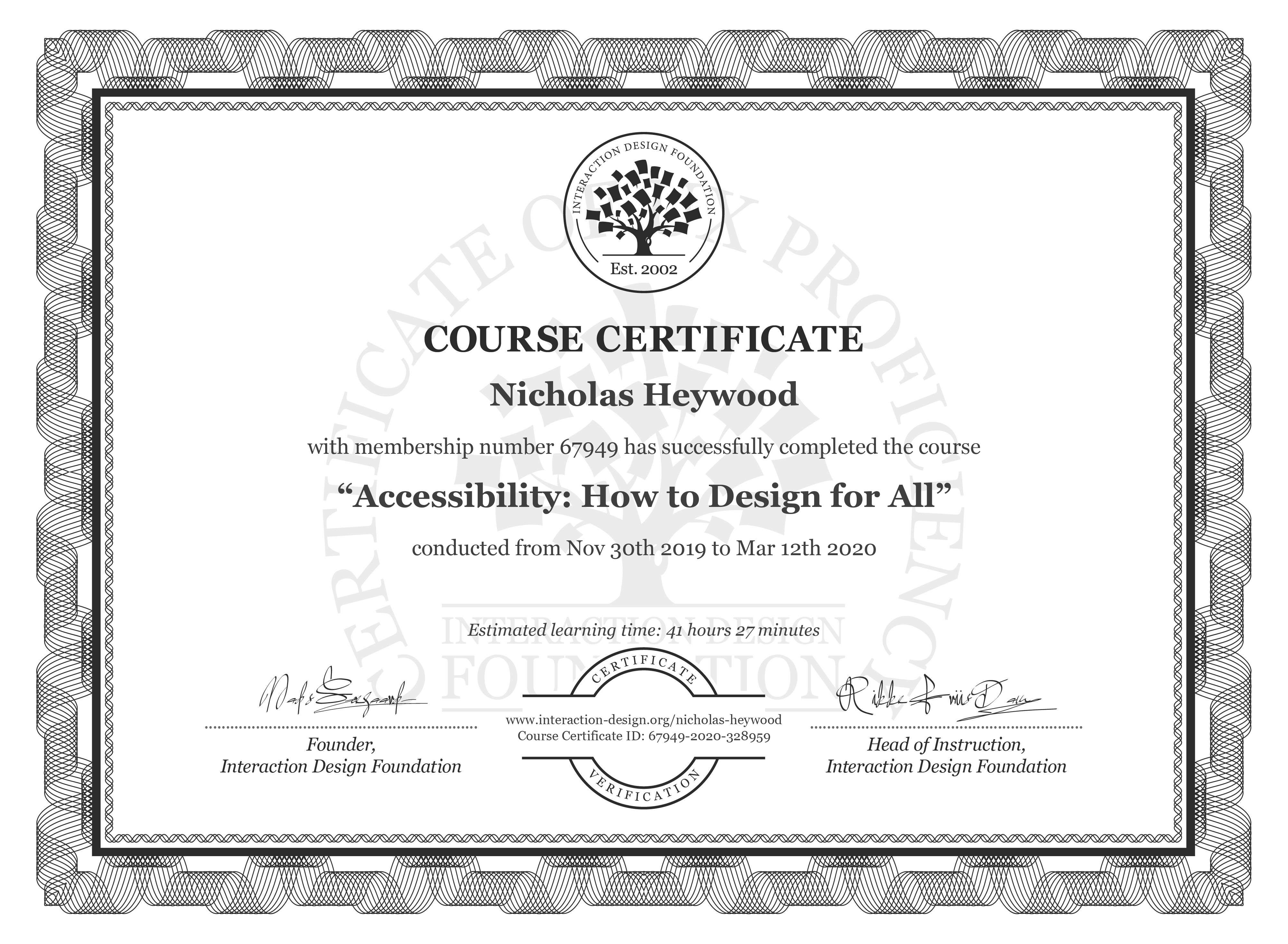 Nicholas Heywood's Course Certificate: Accessibility: How to Design for All