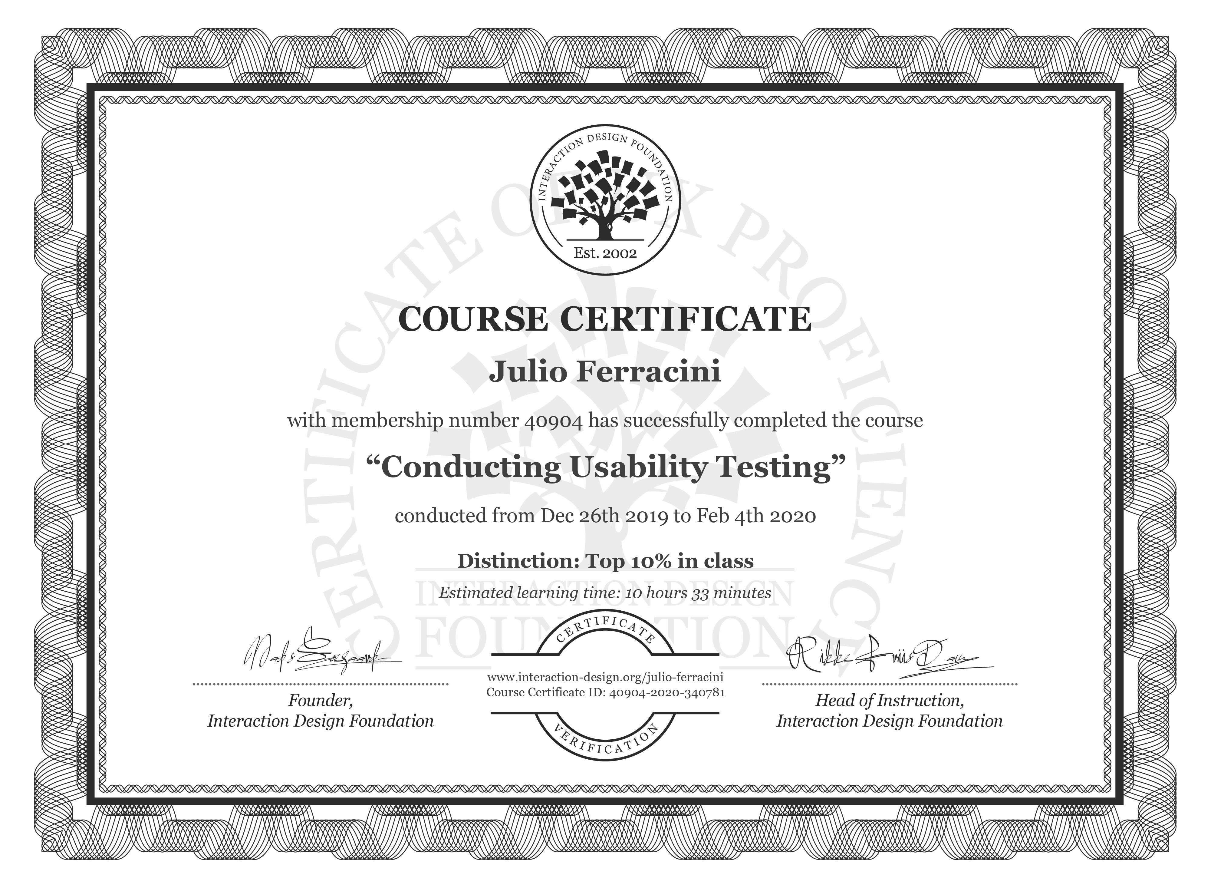 Julio Ferracini's Course Certificate: Conducting Usability Testing