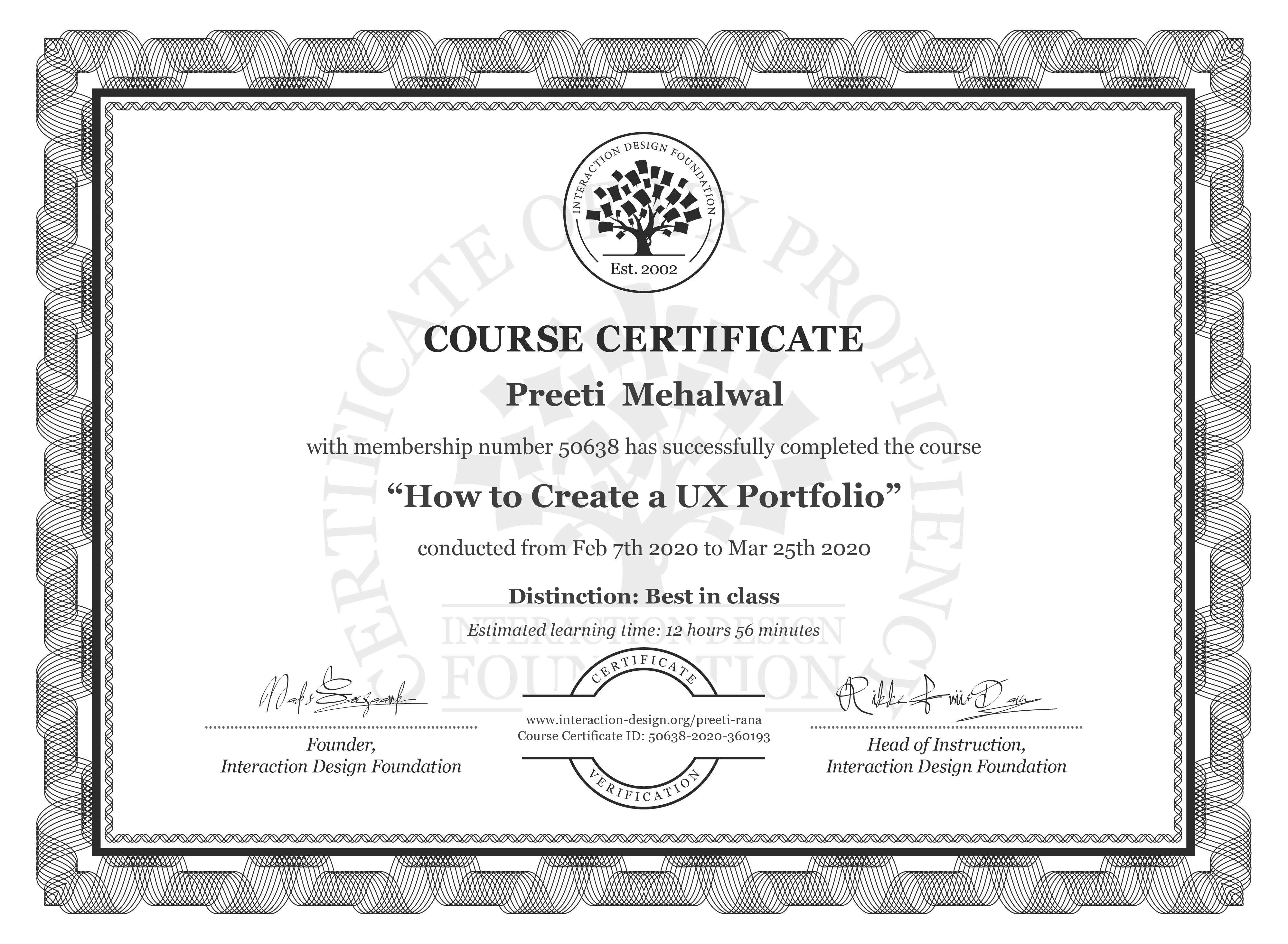 Preeti  Mehalwal's Course Certificate: How to Create a UX Portfolio