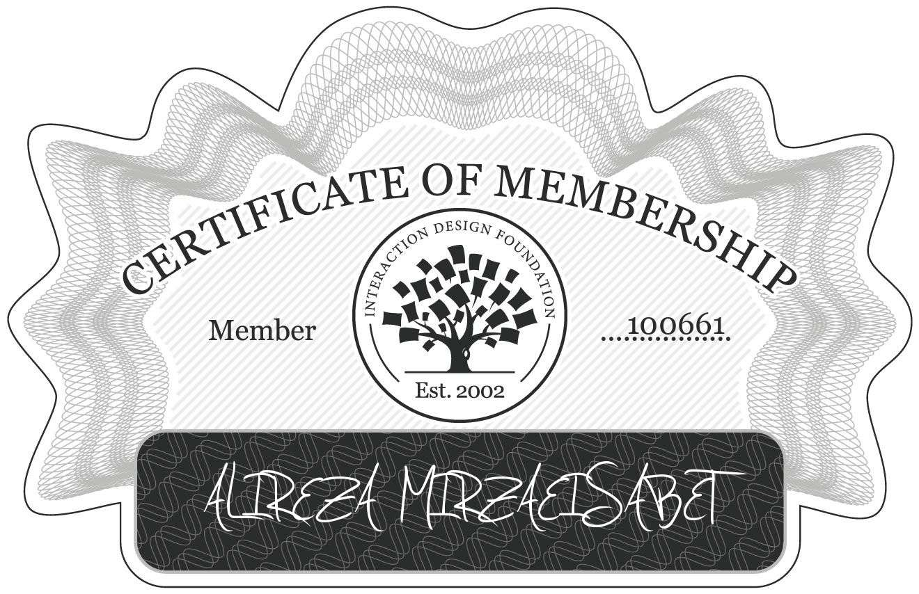 ALIREZA MIRZAEISABET: Certificate of Membership