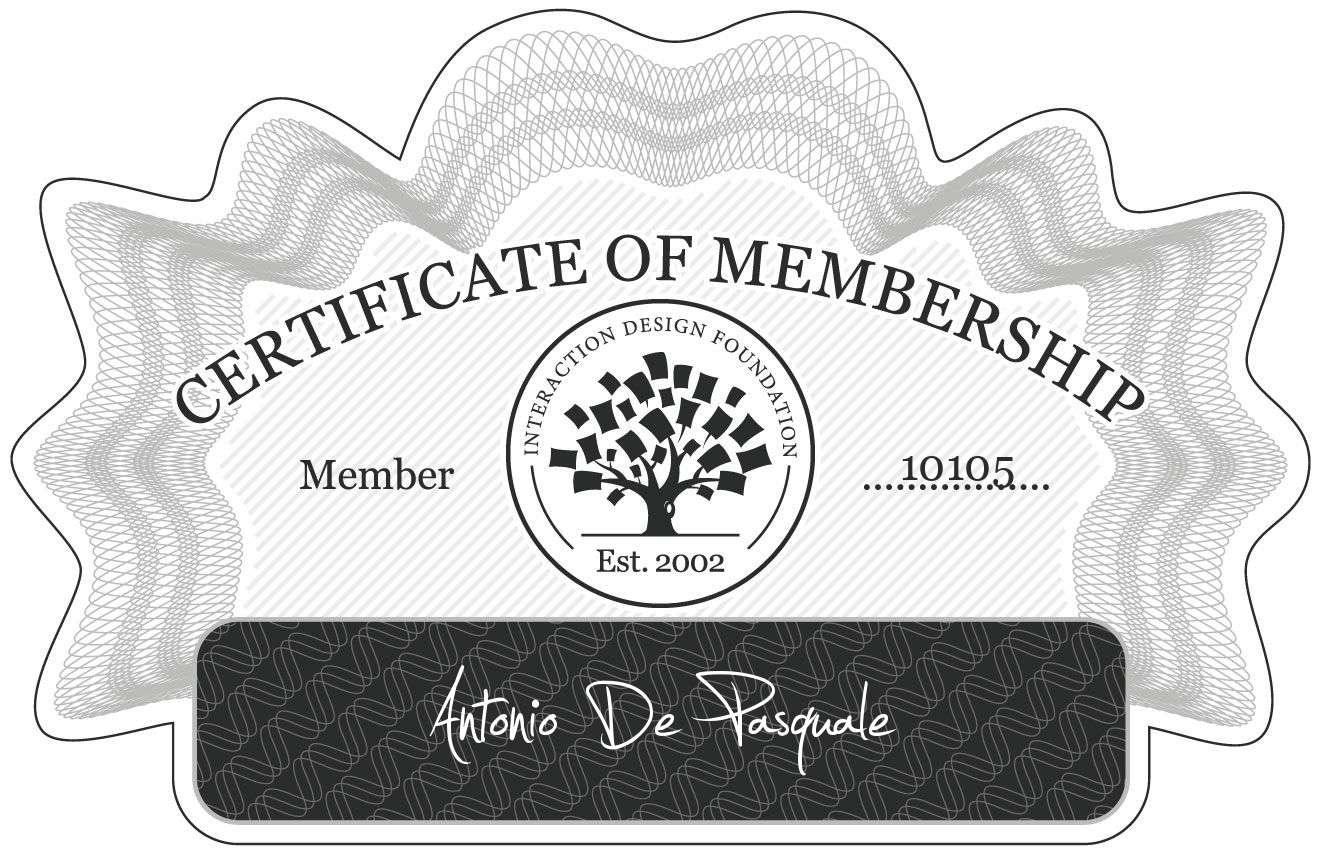Antonio De Pasquale: Certificate of Membership