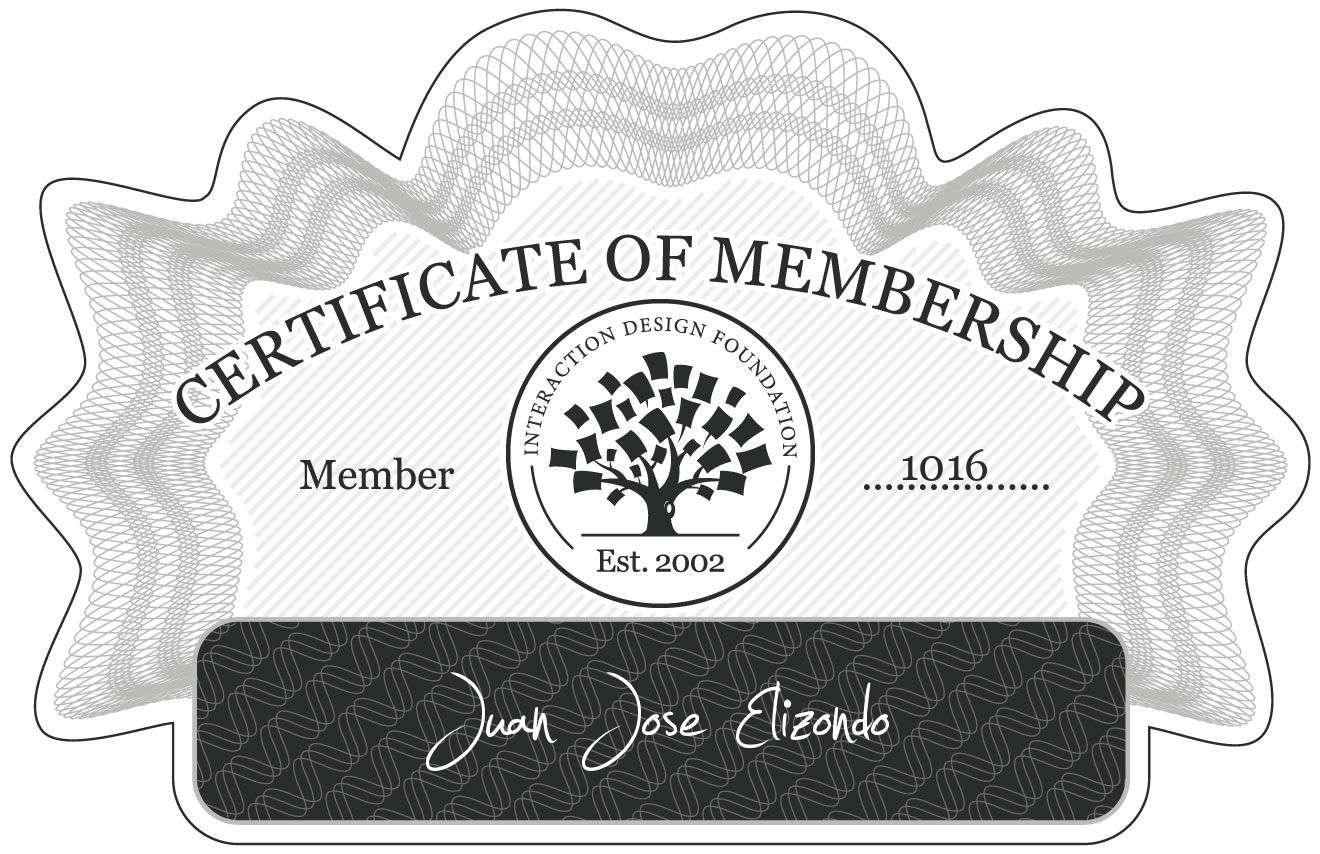 Juan José Elizondo: Certificate of Membership
