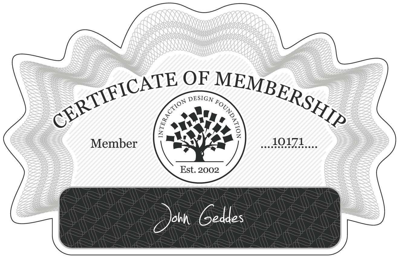 John Geddes: Certificate of Membership
