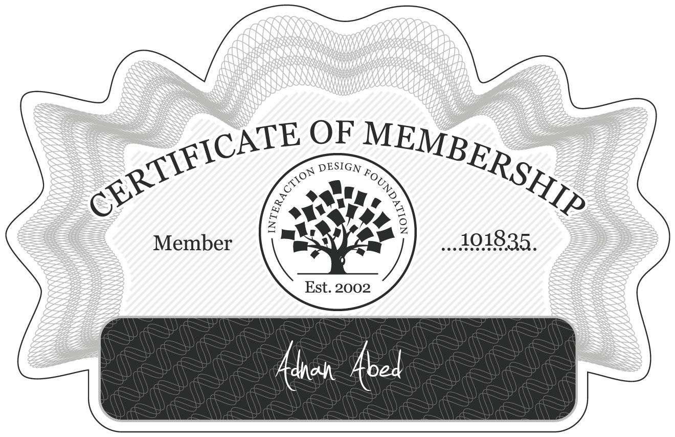 Adnan Abed: Certificate of Membership
