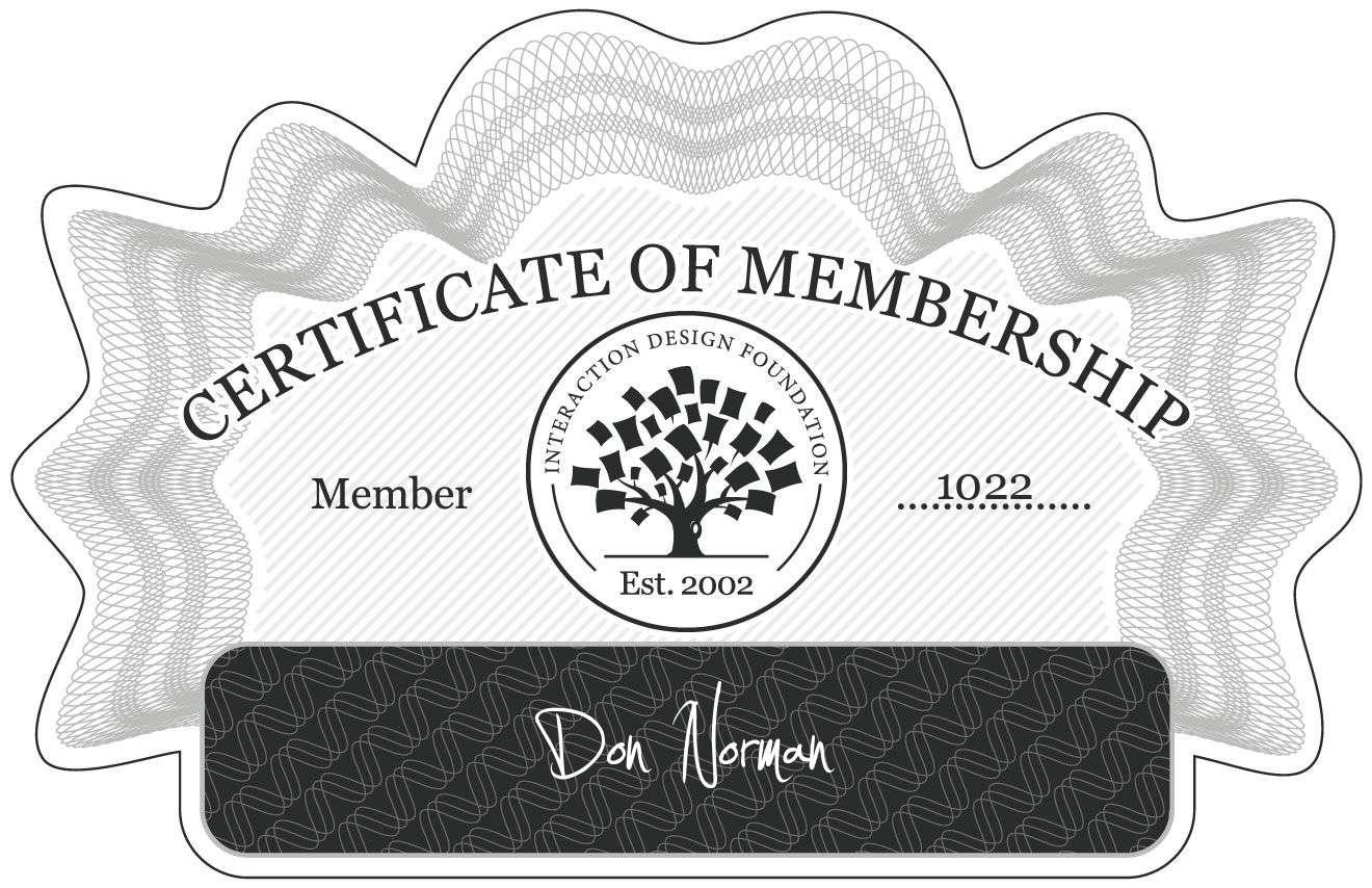 Donald A. Norman: Certificate of Membership