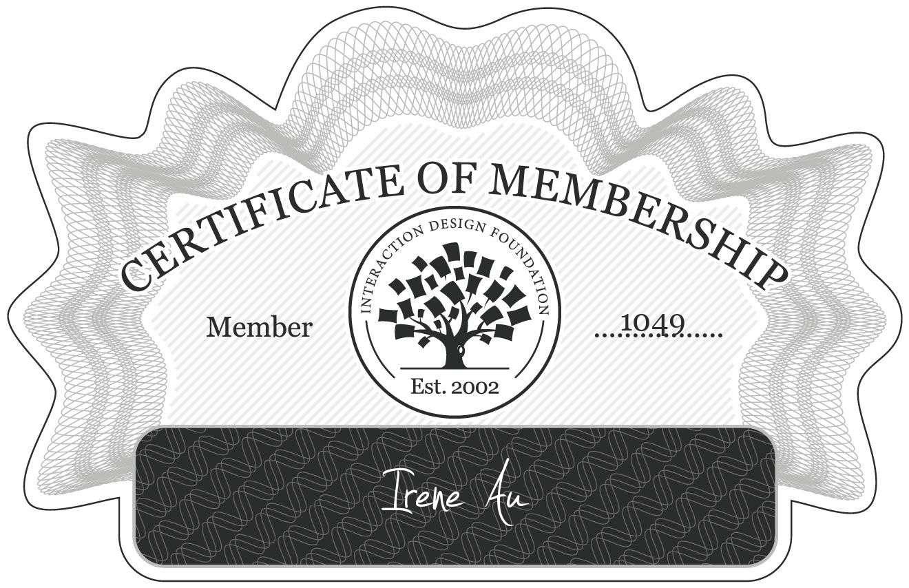 Irene Au: Certificate of Membership