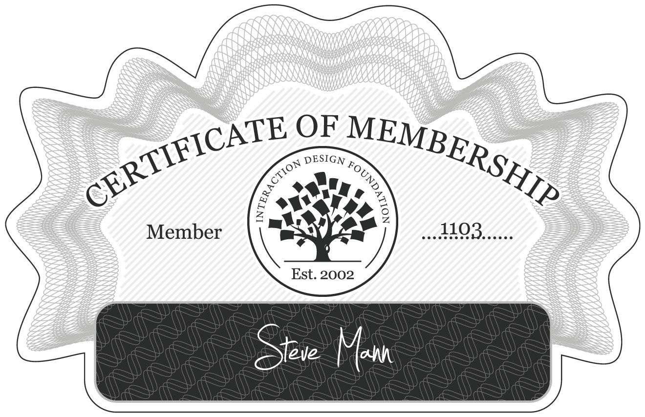 Steve Mann: Certificate of Membership