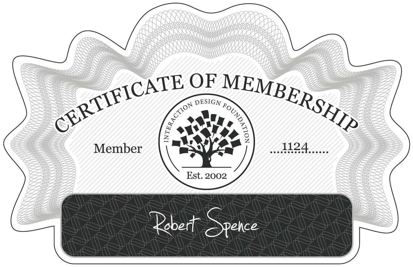 Robert Spence: Certificate of Membership