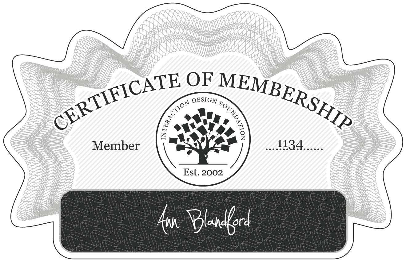 Ann Blandford: Certificate of Membership
