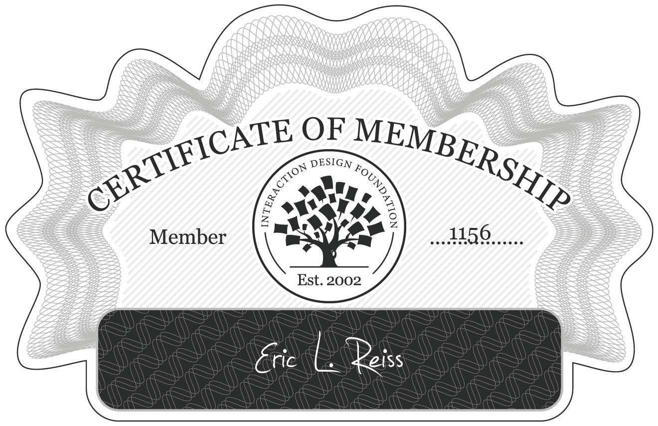 Eric L. Reiss: Certificate of Membership