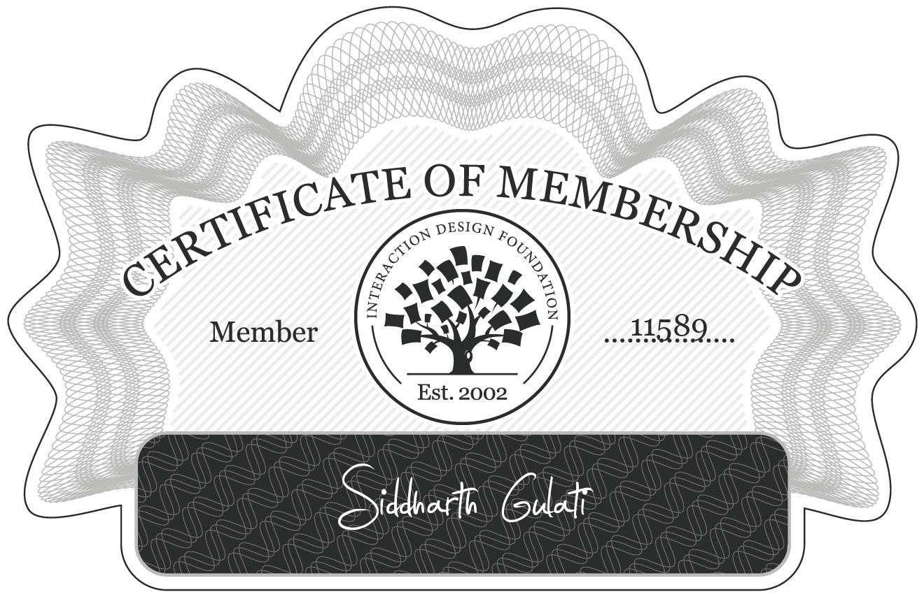 Siddharth Gulati: Certificate of Membership
