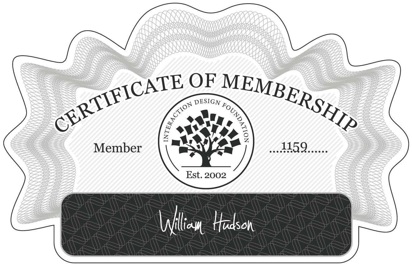 William Hudson: Certificate of Membership