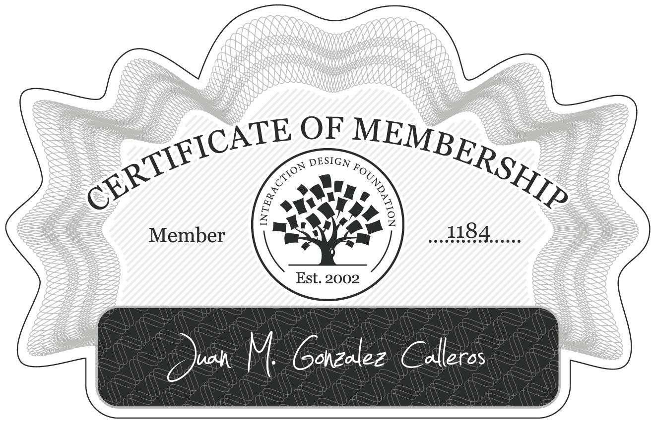 Juan M. Gonzalez Calleros: Certificate of Membership