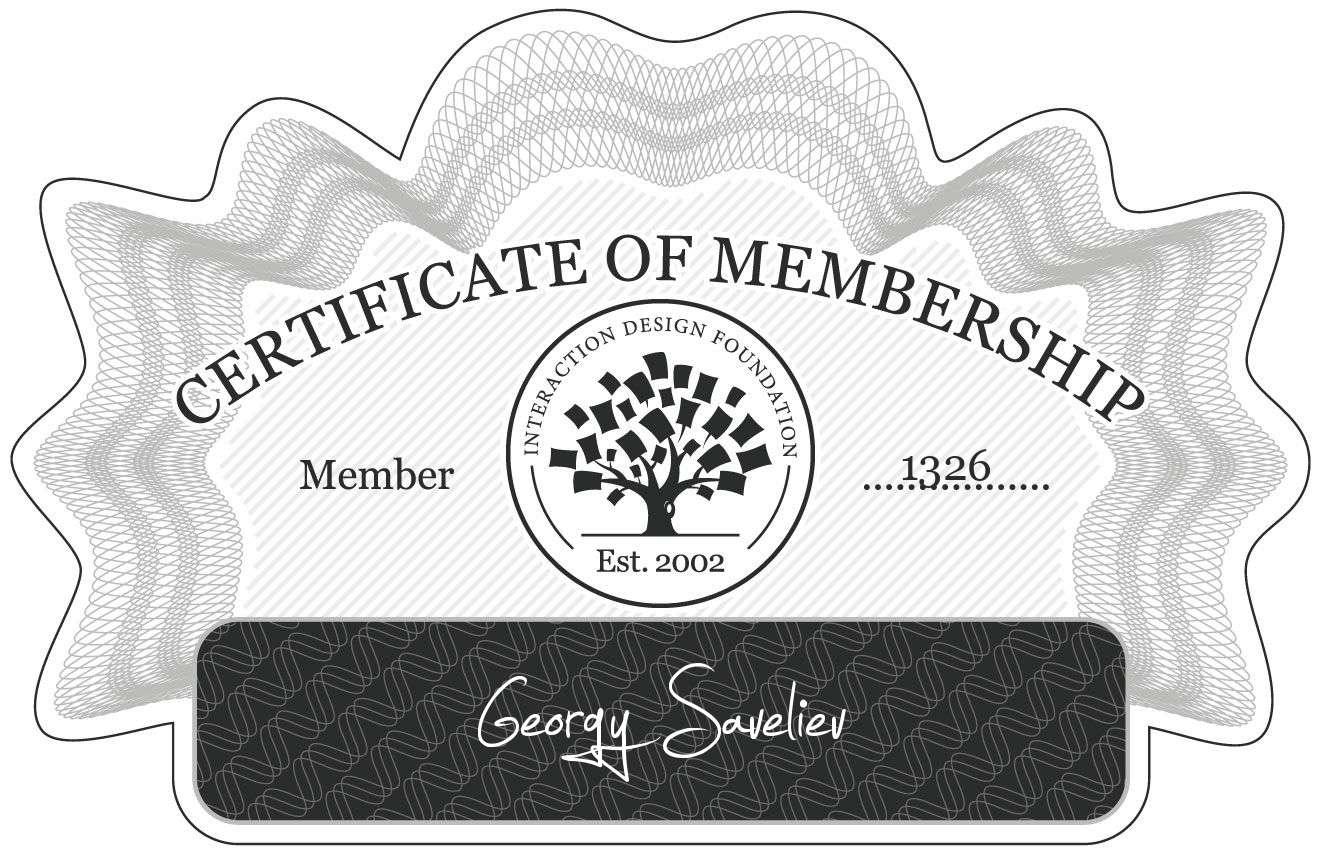 Georgy Saveliev: Certificate of Membership