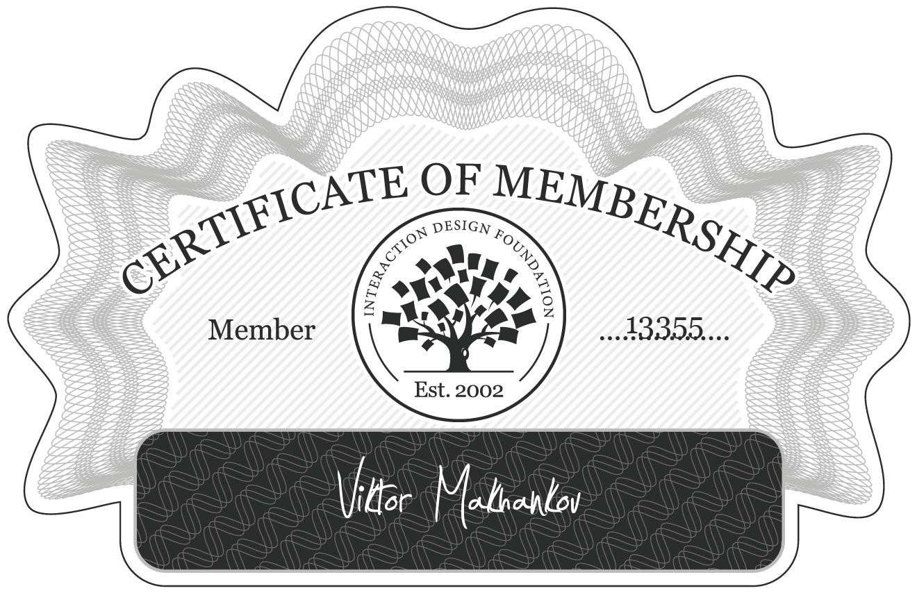 Viktor Makhankov: Certificate of Membership
