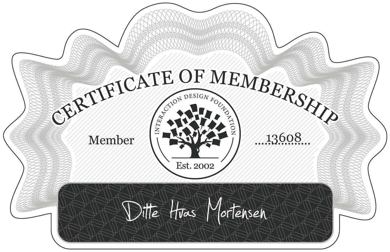 Ditte Hvas Mortensen: Certificate of Membership