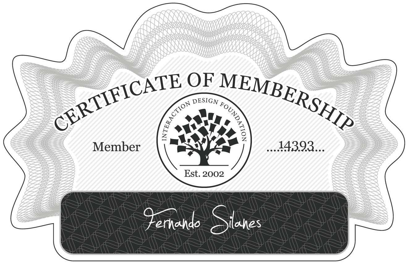 Fernando Silanes: Certificate of Membership
