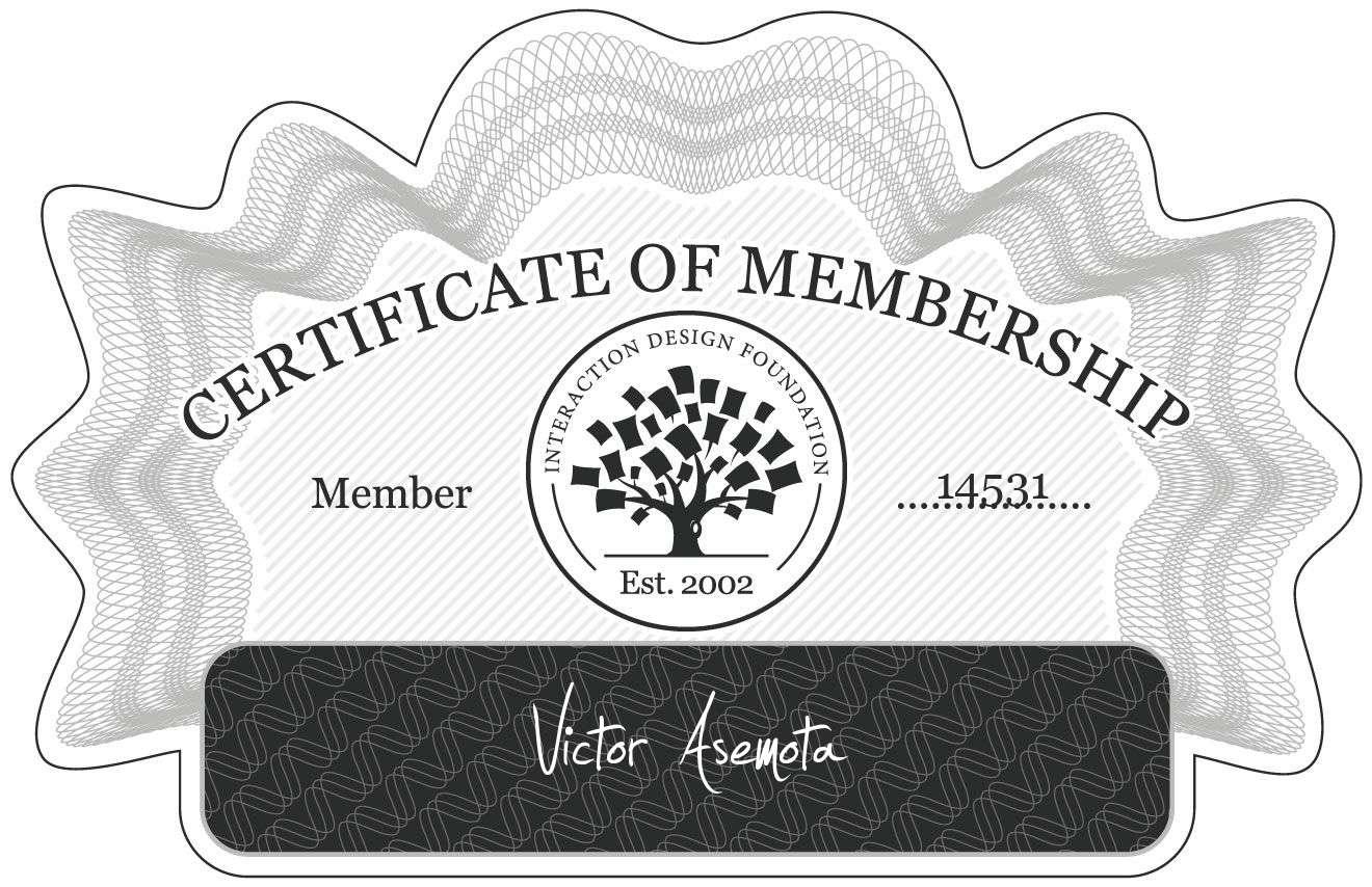 Victor Asemota: Certificate of Membership