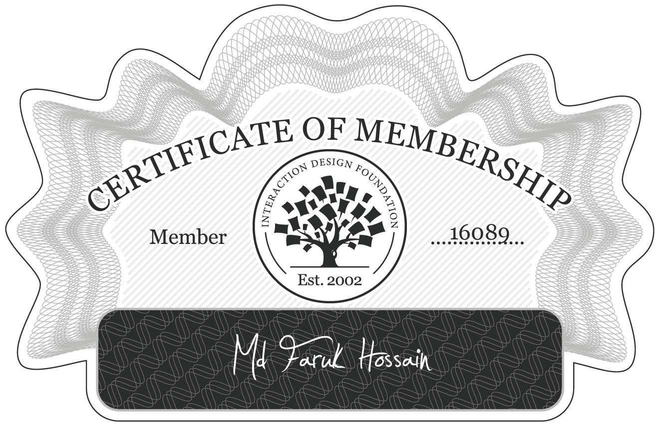 Md. Faruk Hossain: Certificate of Membership