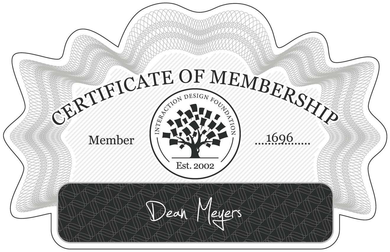 Dean Meyers: Certificate of Membership