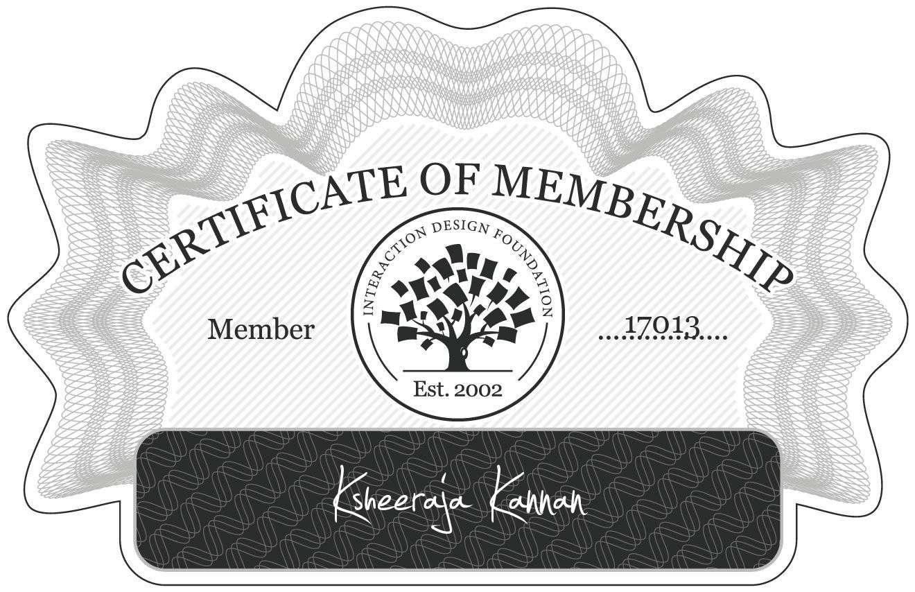 Ksheeraja Kannan: Certificate of Membership