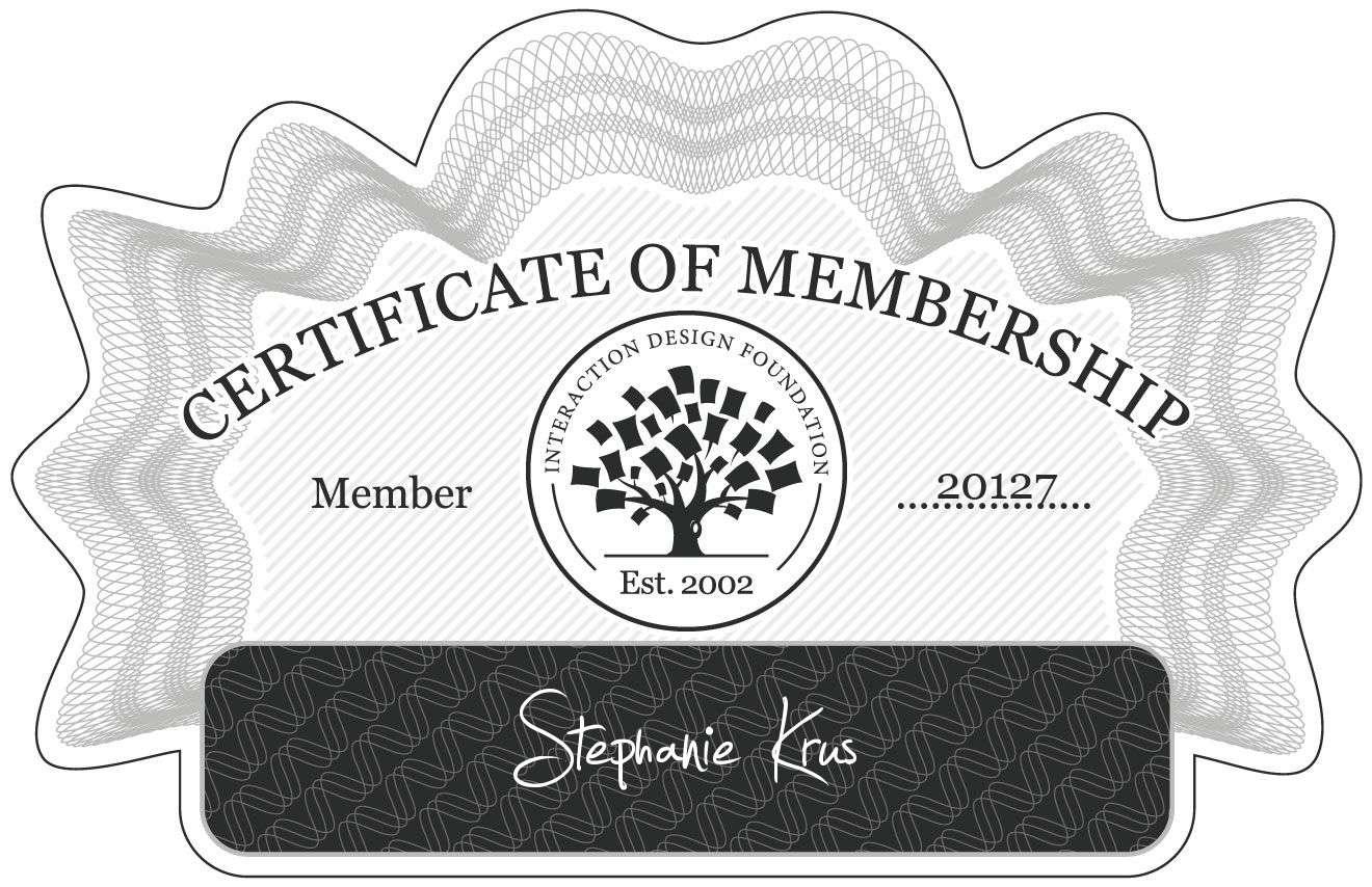 Stephanie Krus: Certificate of Membership
